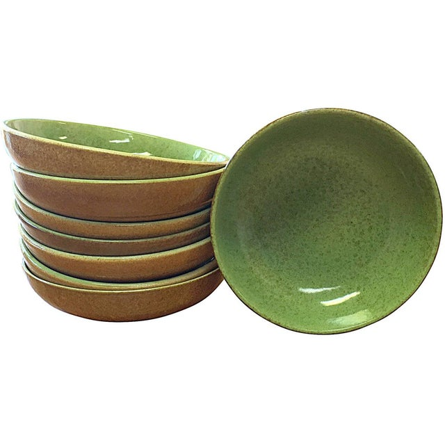 1950s Green & Tan Modern Bowl Set - Set of 8 - Image 1 of 5