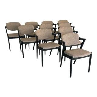 1960s Mid-Century Modern Kai Kristiansen Restored, Ebonized Dining Chairs, Inc. Re-Upholstery - Set of 10 For Sale