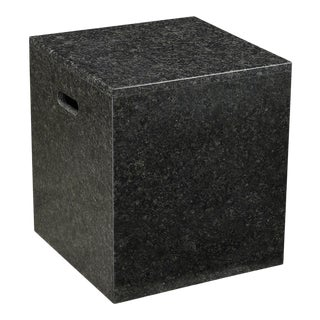 Black Marble Block Side Table For Sale