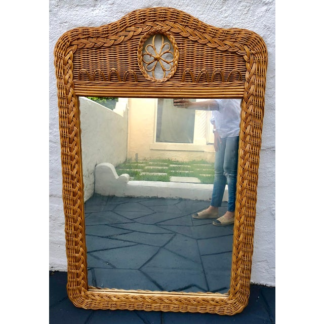 Wicker Natural Wicker Lexington Mirror For Sale - Image 7 of 7