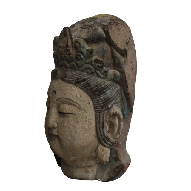 Wood Vintage Rustic Wooden Carved Kwan Yin Bodhisattva Head Statue For Sale - Image 7 of 8
