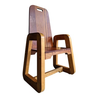 Sculptural Art Deco Birdseye Maple Studio Craft Chair For Sale