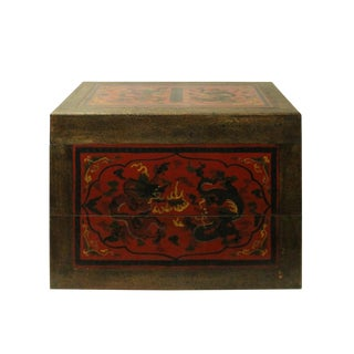 Chinese Distressed Yellow Red Dragon Graphic Rectangular Box For Sale