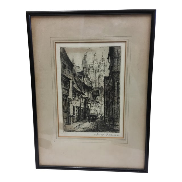 European City Street by Cathedral Etching For Sale