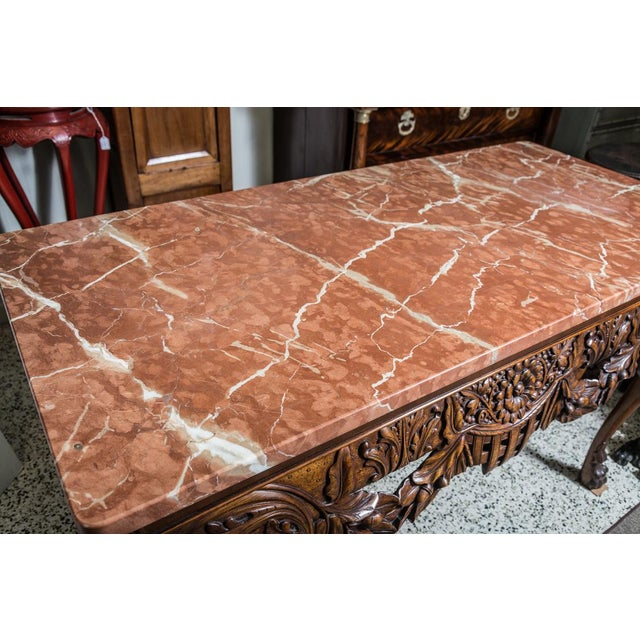 Marble Irish Chippendale Style Oak Table with Marble Top For Sale - Image 7 of 9