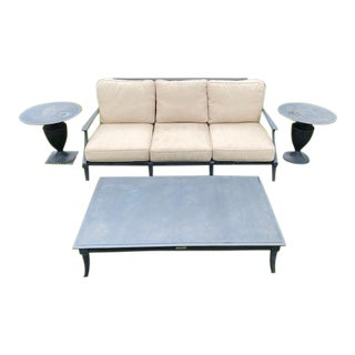 Restoration Hardware Klismos Sofa With Coffee Table and Side Tables- 4 Pieces For Sale