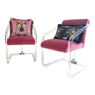 Vintage Lucite Chairs Restored in Loro Piana Pink Velvet With Gucci Pillows - Pair