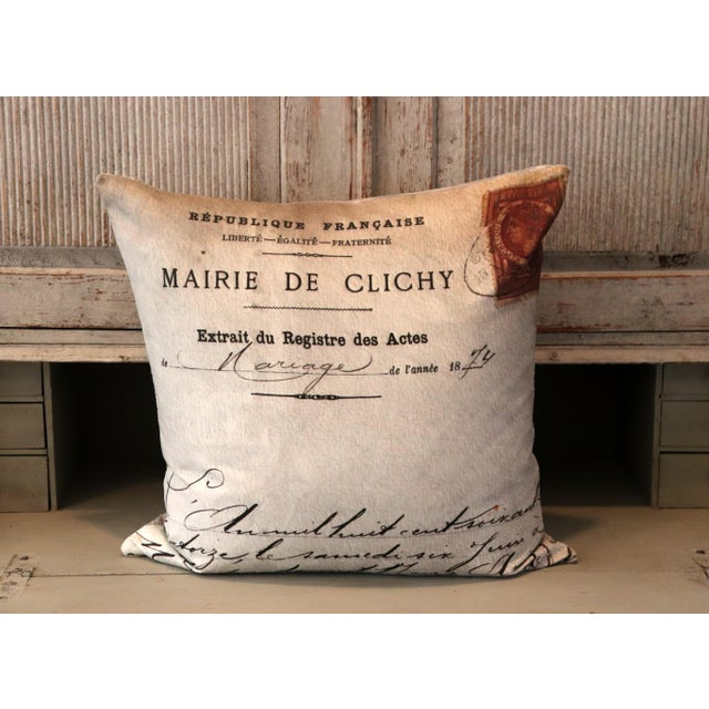 Beige Paris Photo Pillow French Marriage Document Dated 1874 For Sale - Image 8 of 13