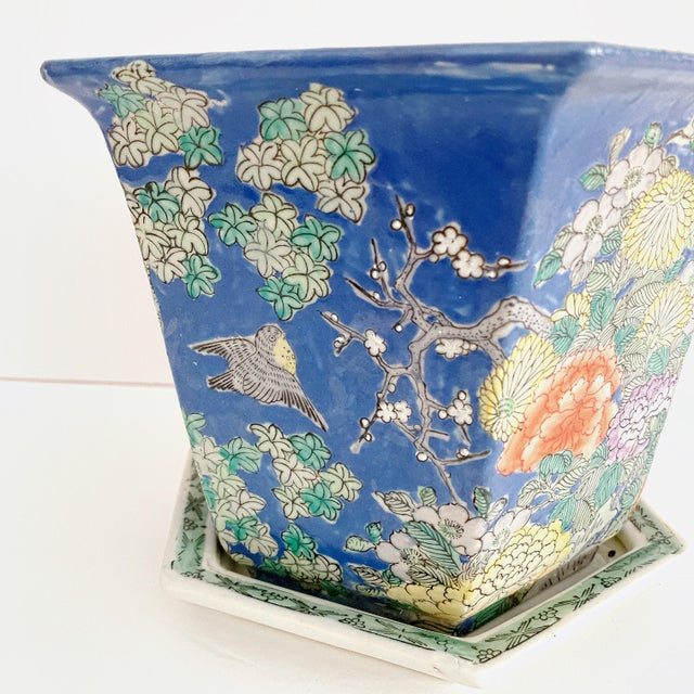 This is a beautiful Chinoiserie ceramic jardiniere planter with saucer. Hexagonal shape, soft blue ceramic hand painted...