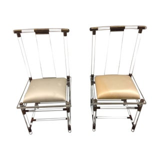 Lucite And Brass Dining Chairs - A Pair