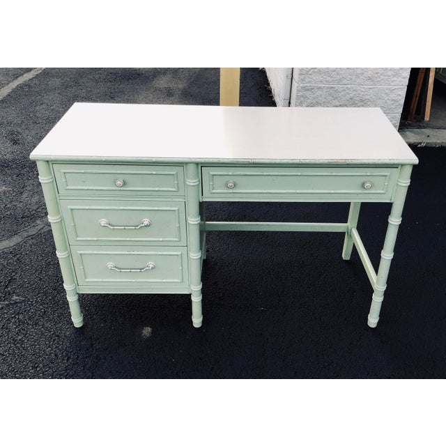 Thomasville Faux Bamboo Writing Desk For Sale - Image 4 of 9
