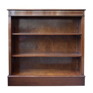 English Satinwood Inlaid Mahogany Low Bookcase For Sale