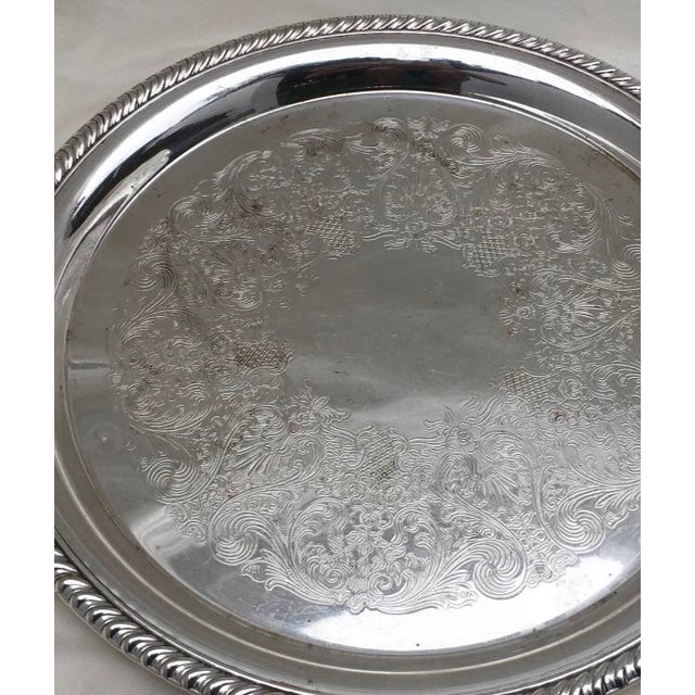 Traditional Wm Rogers Silver Plate Ornate Floral Serving Tray For Sale - Image 3 of 8