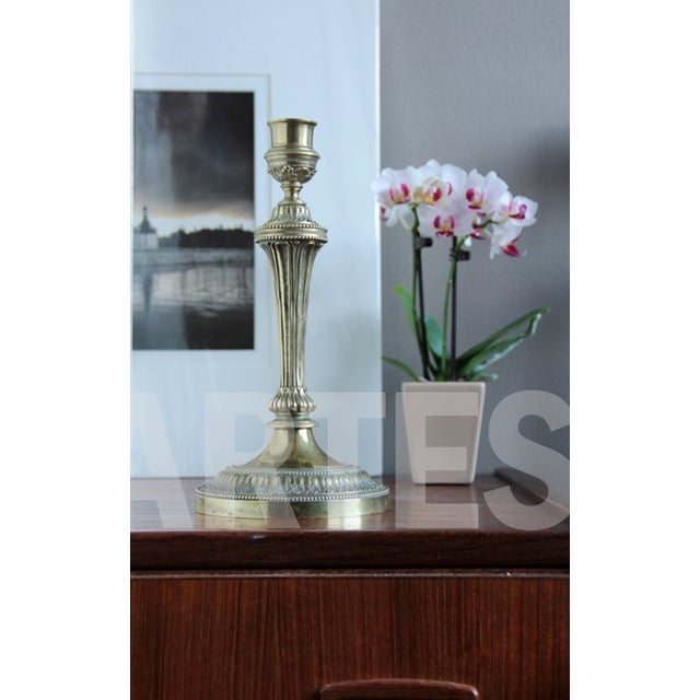 Antique French Louis XVI Style Bronze Candlestick For Sale - Image 5 of 5
