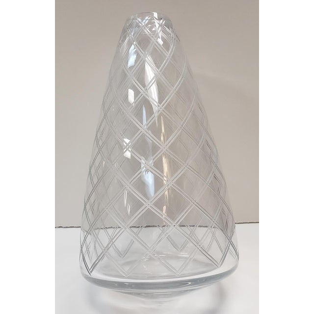 Mid 20th Century Italian Cut Glass Diamond Pattern Leaning Vase For Sale - Image 4 of 9