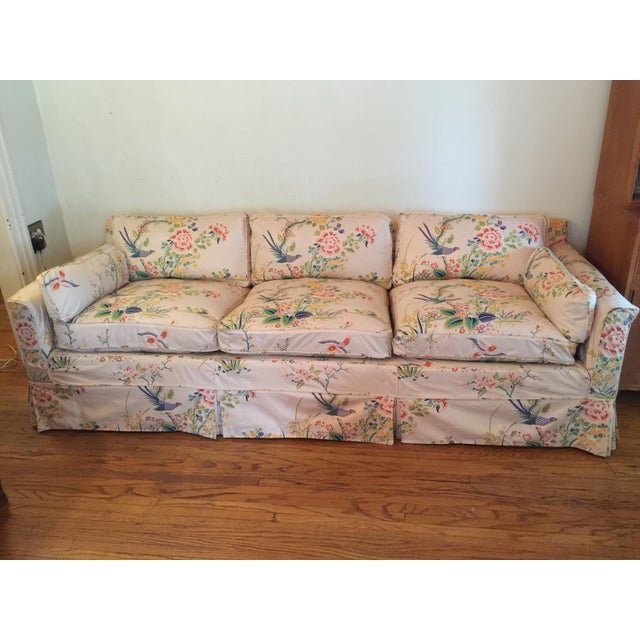 Mid-Century Modern 1960s Mid-Century Modern Hog and Horse Mane Hair Sofa Couch With Down Cushions With Floral Slipcover For Sale - Image 3 of 11