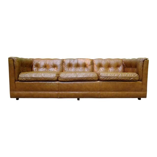 1970\'s Drexel Modern Tufted Leather Sofa   Chairish