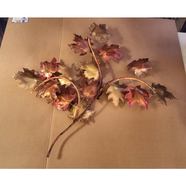 Beautiful welded copper and brass welded and torched leaf decor. Made in the 1970s