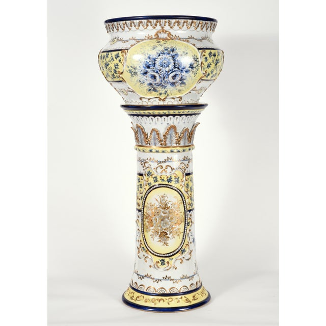 French Neoclassical Style Porcelain Plant Stand With Cache Pot - 2 Pc. Set For Sale - Image 12 of 13