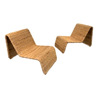 1980s Tito Agnoli P3 Rattan Lounge Chairs- a Pair For Sale