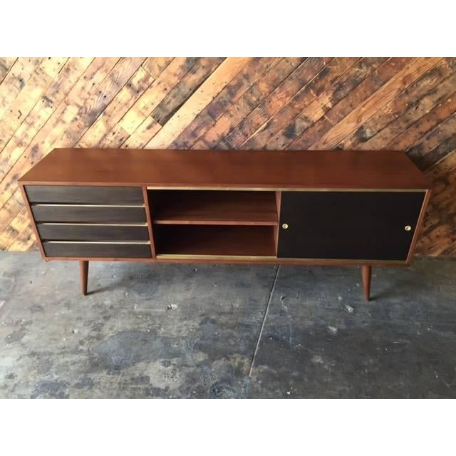 Mid-Century Style Custom Walnut & Brass Credenza For Sale - Image 5 of 7