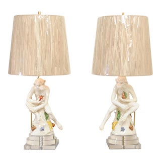 Extraordinary Pair of Italian Monkey Sculptures as Custom Lamps, circa 1970