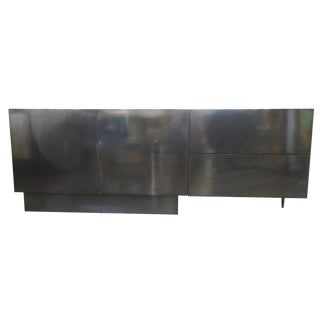 Asymmetric One Leg Credenza in Stainless Steel and Wood For Sale