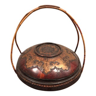 Antique Chinese Lidded Basket For Sale