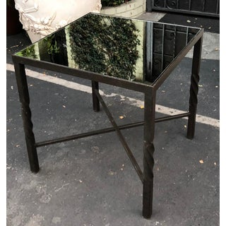 Square Art Deco Style Wrought Iron Side Table by Murray's Iron Works Preview