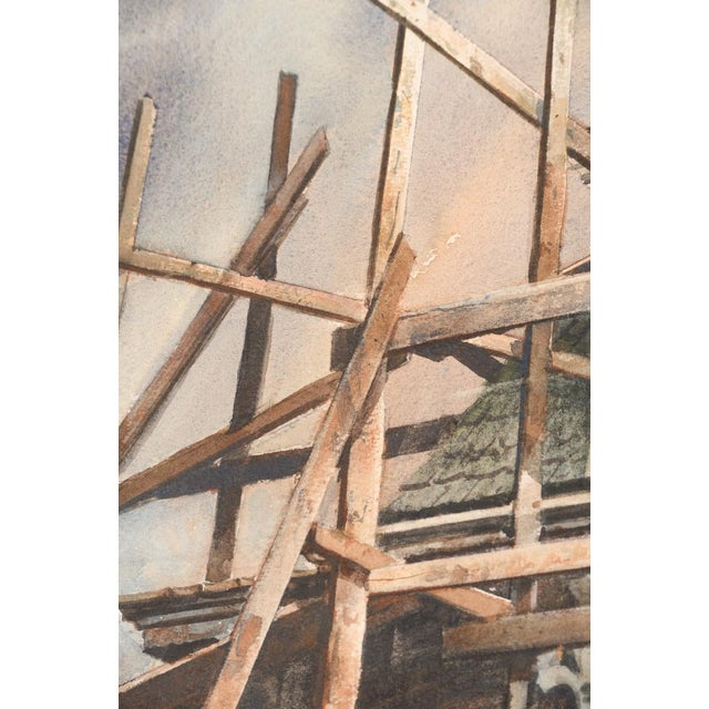 """Vintage """"Victorian Home & Black Cat"""" Watercolor Painting For Sale In Los Angeles - Image 6 of 8"""