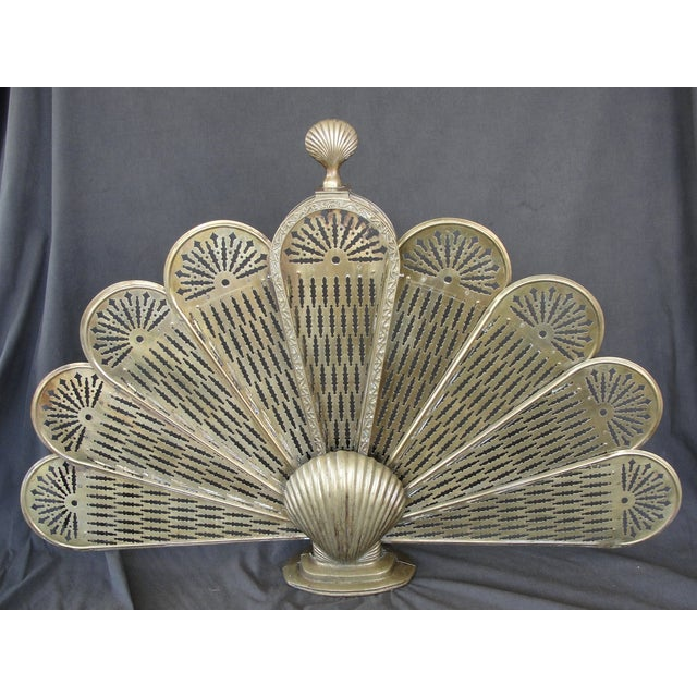 Brass Sea Shell Folding Fireplace Screen - Image 2 of 8