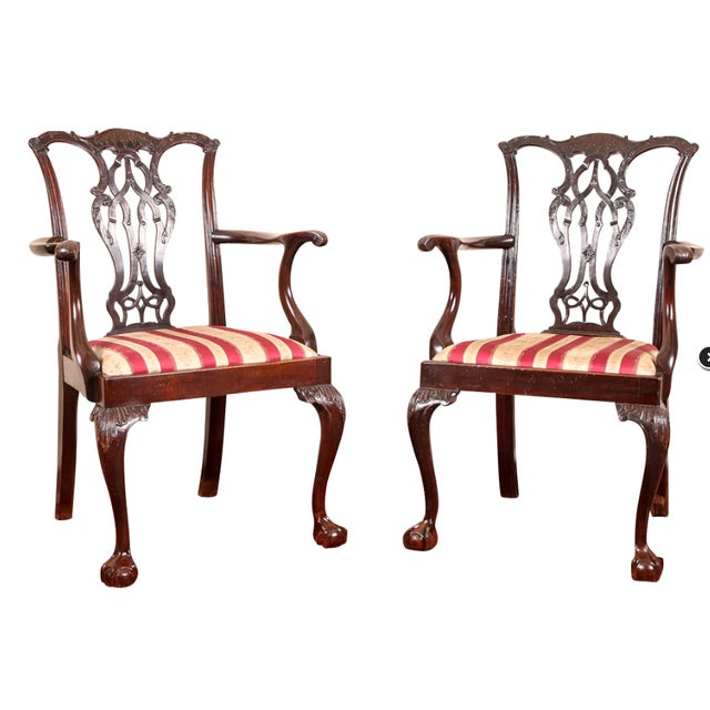 Mahogany Fine Antique Chippendale Chairs - a Pair For Sale - Image 7 of 7 - Fine Antique Chippendale Chairs - A Pair Chairish