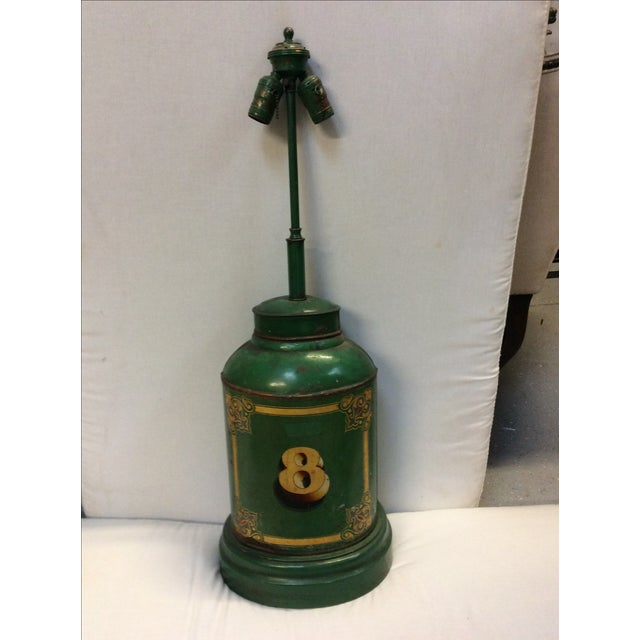 Americana Antique English Tea Canister Lamp For Sale - Image 3 of 9