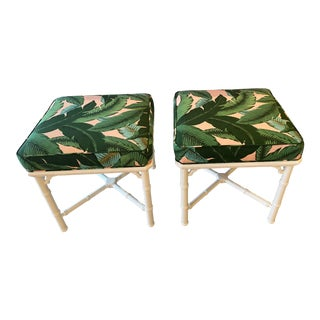Vintage Faux Bamboo Lacquered Tropical Coral Banana Leaves Upholstery Benches -A Pair For Sale