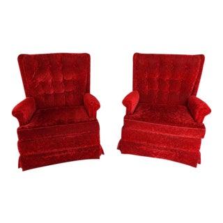 1970s Vintage Tufted Red Velvet Haute Swivel Rocker Lounge Chairs - Set of 2