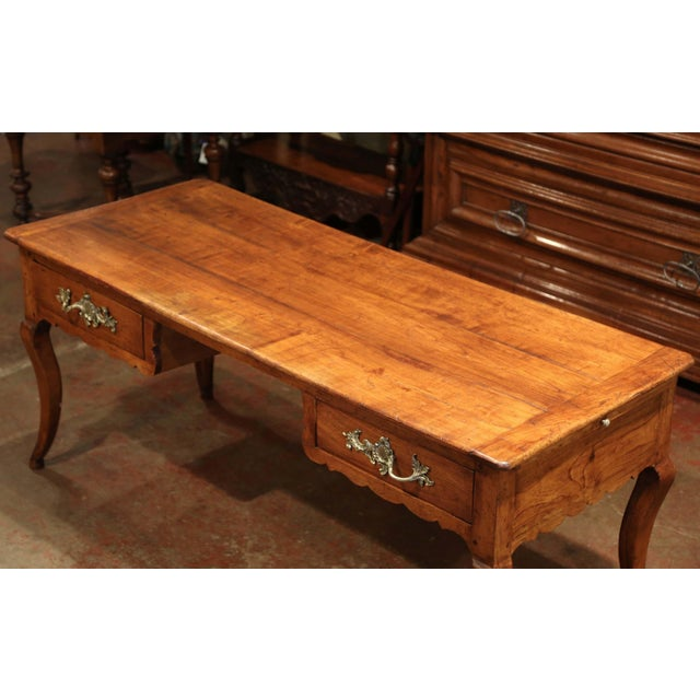 18th Century French Louis XV Carved Cherry Desk With Drawers and Pullout Trays For Sale - Image 4 of 13