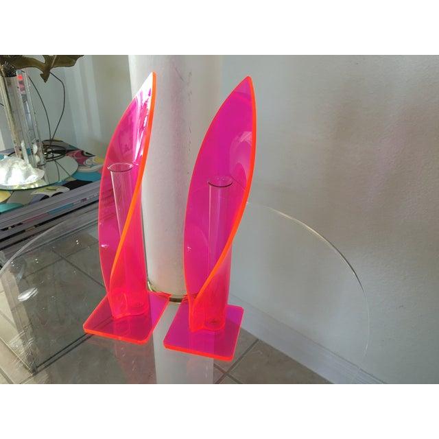 1970s Neon Lucite Bud Vases - Pair - Image 5 of 6