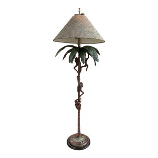 Frederick Cooper Sculptural Palm Tree Floor Lamp With Shade For Sale