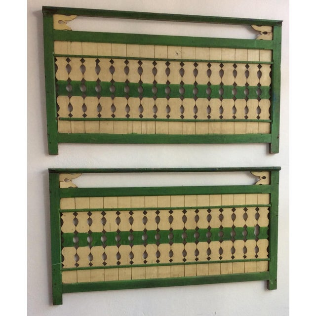 Green & Ivory Indonesian Wood Panels - A Pair - Image 3 of 6