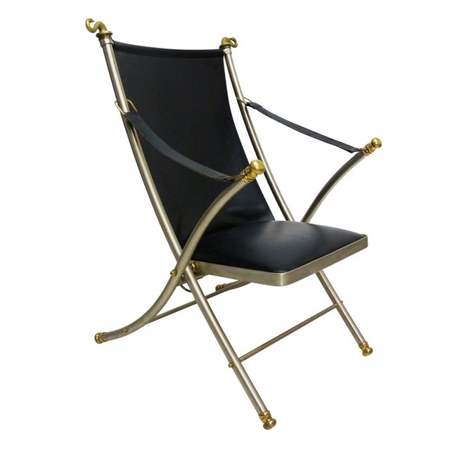 Jansen Style Leather & Brass Campaign Chair - Image 1 of 10