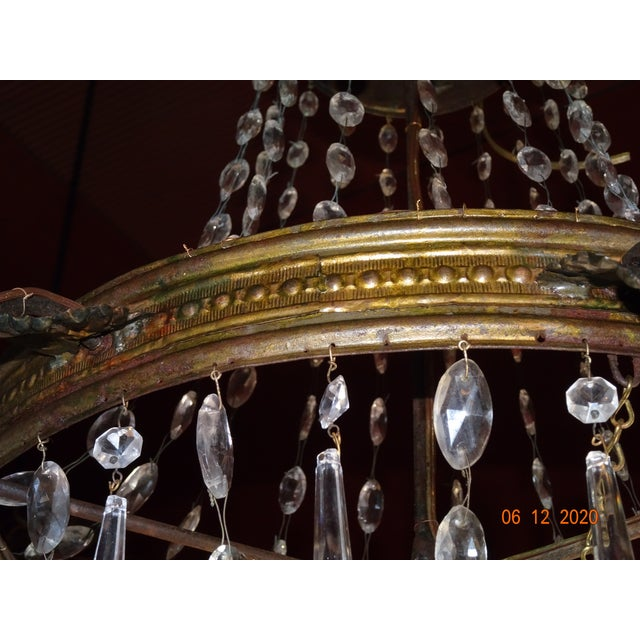 19th Century French Tole and Crystal Chandelier For Sale - Image 4 of 13
