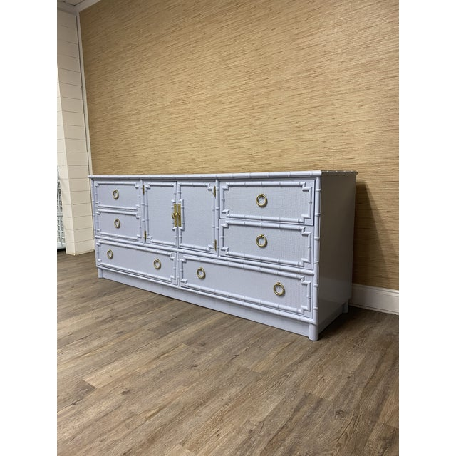 Vintage Drexel Lexington Faux Bamboo Blue Gray Lacquered Credenza For Sale In Raleigh - Image 6 of 7