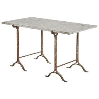 Iron Base Trestle Table With Stone Top For Sale