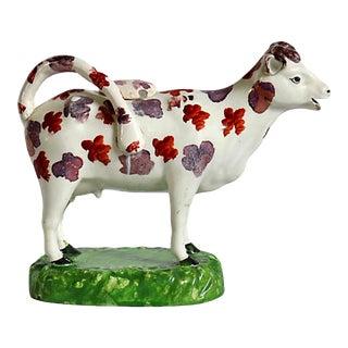 19th Century English Staffordshire Cow Cream Jug For Sale