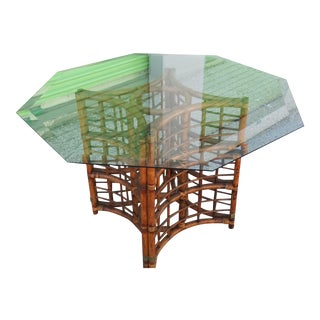 Vintage Boho Chic Florida Bent Bamboo & Rattan Glass Dining Table For Sale