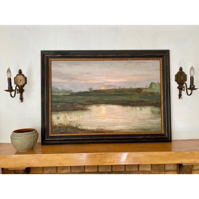 Modern Landscape #2 Harvest Moon Fine Art Giclée Print Framed For Sale - Image 3 of 6