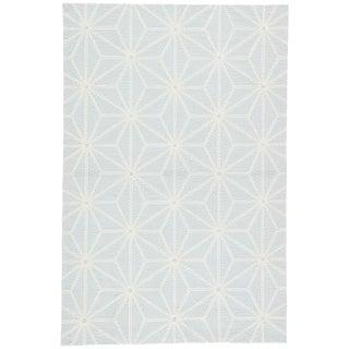 Jaipur Living Haige Indoor/ Outdoor Geometric Light Blue/ White Area Rug - 5′ × 7′6″ For Sale