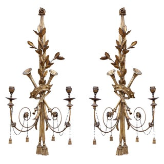 Pair of Musical Neoclassic Sconces For Sale