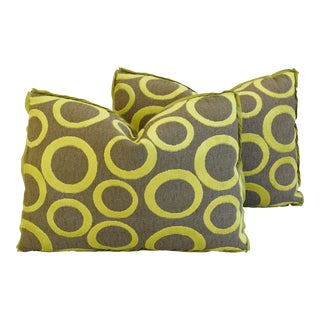 "Modern Abstract Cut Velvet Lime Circles Feather/Down Pillows 22"" X 16"" - Pair For Sale"