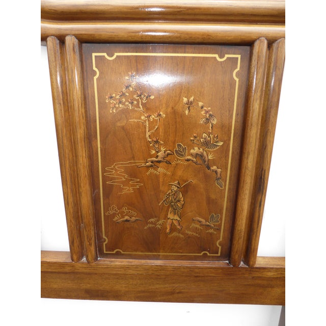 Vintage Drexel Heritage Mid-Century Modern Floral Chinoiserie King Headboard - Image 9 of 11